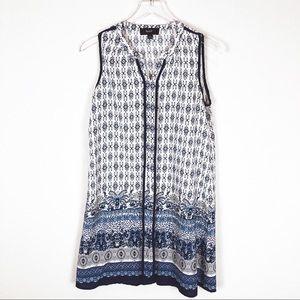 Naif | White/Blue Paisley Printed Sleeveless Dress